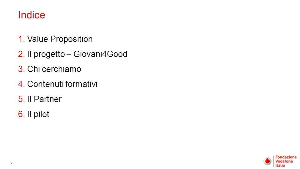 2 Indice 1.Value Proposition 2.Il progetto – Giovani4Good 3.Chi cerchiamo 4.Contenuti formativi 5.Il Partner 6.Il pilot
