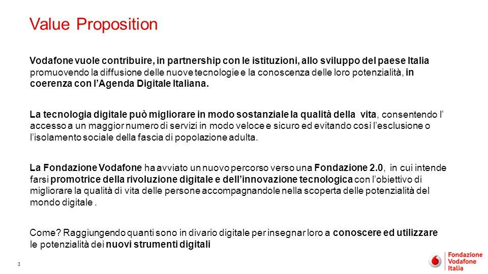 3 Value Proposition Vodafone vuole contribuire, in partnership con le istituzioni, allo sviluppo del paese Italia promuovendo la diffusione delle nuov