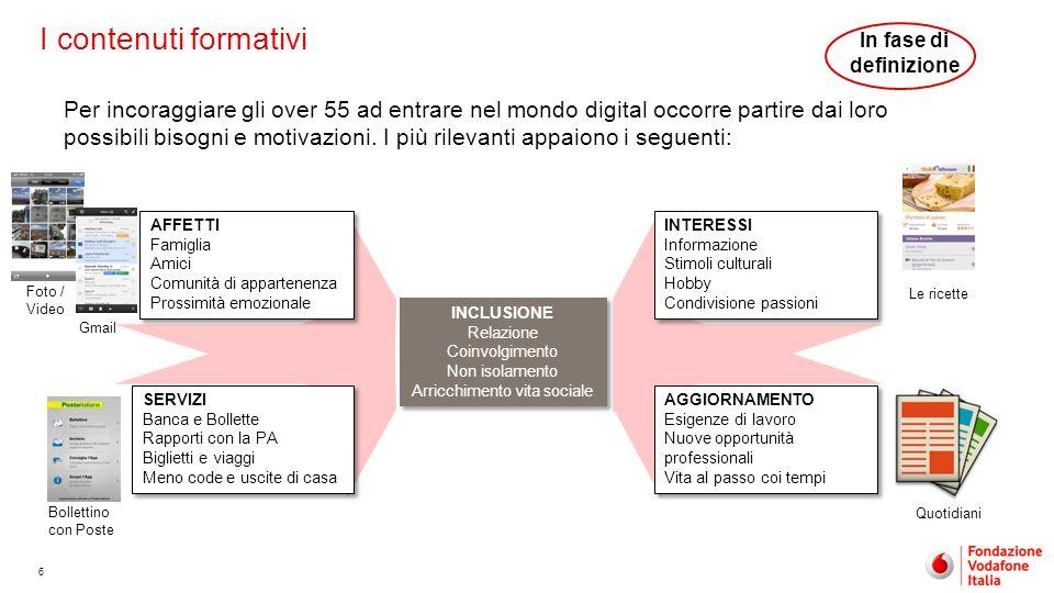 6 I contenuti formativi Per incoraggiare gli over 55 ad entrare nel mondo digital occorre partire dai loro possibili bisogni e motivazioni. I più rile