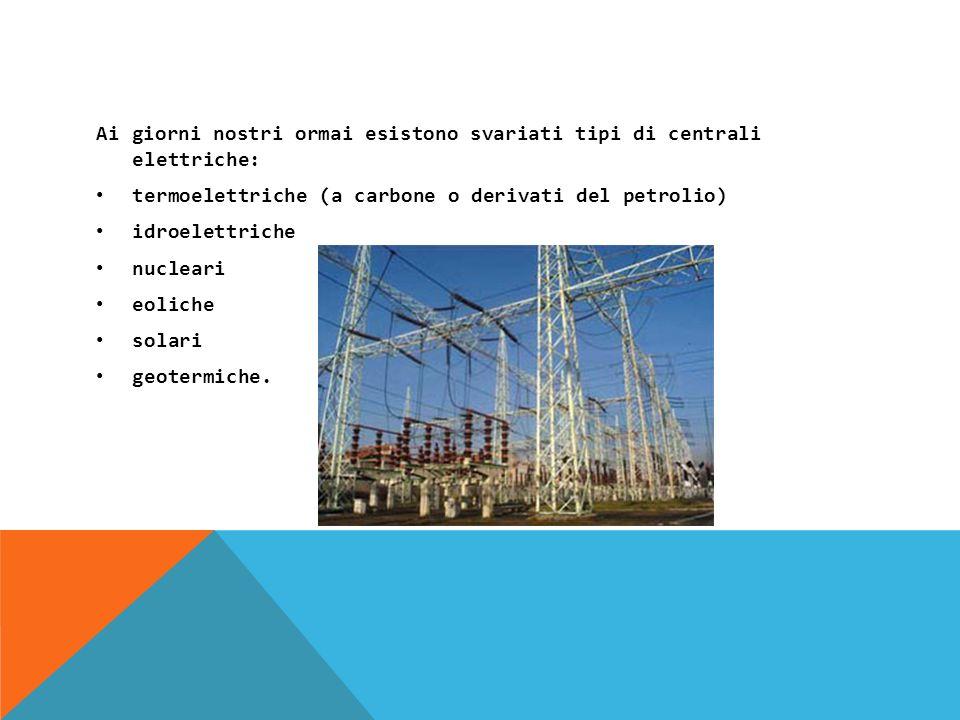 Ai giorni nostri ormai esistono svariati tipi di centrali elettriche: termoelettriche (a carbone o derivati del petrolio) idroelettriche nucleari eoliche solari geotermiche.