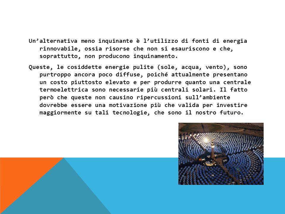 Unalternativa meno inquinante è lutilizzo di fonti di energia rinnovabile, ossia risorse che non si esauriscono e che, soprattutto, non producono inquinamento.