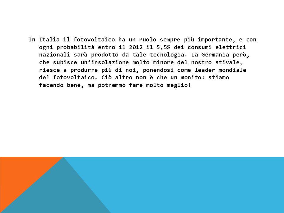 In Italia il fotovoltaico ha un ruolo sempre più importante, e con ogni probabilità entro il 2012 il 5,5% dei consumi elettrici nazionali sarà prodotto da tale tecnologia.