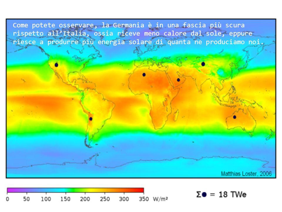 Come potete osservare, la Germania è in una fascia più scura rispetto allItalia, ossia riceve meno calore dal sole, eppure riesce a produrre più energia solare di quanta ne produciamo noi.