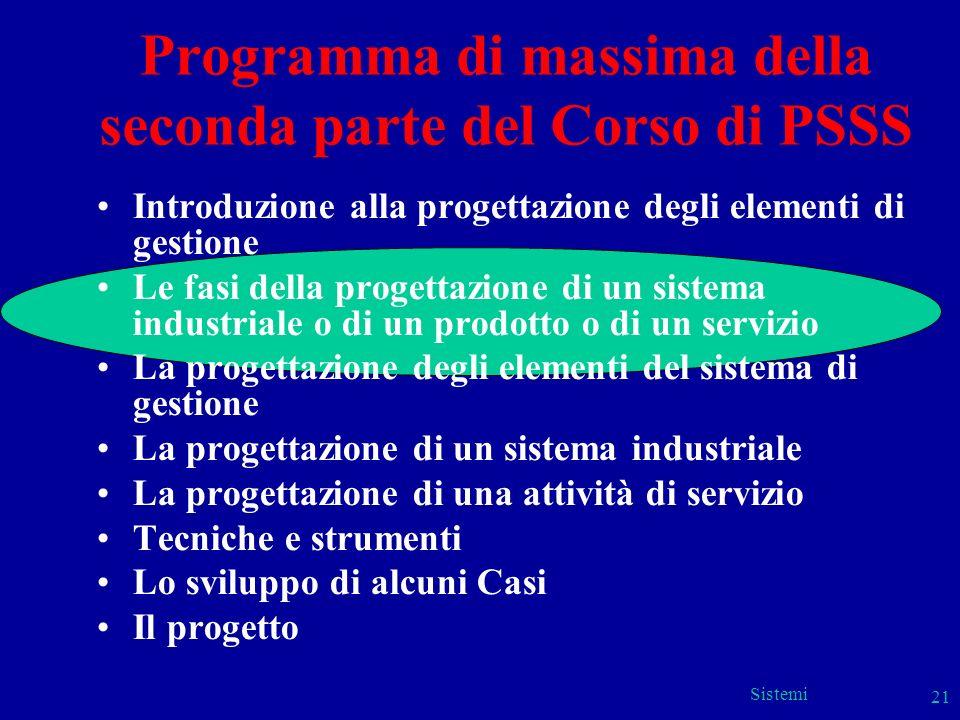 Sistemi 21 Programma di massima della seconda parte del Corso di PSSS Introduzione alla progettazione degli elementi di gestione Le fasi della progett