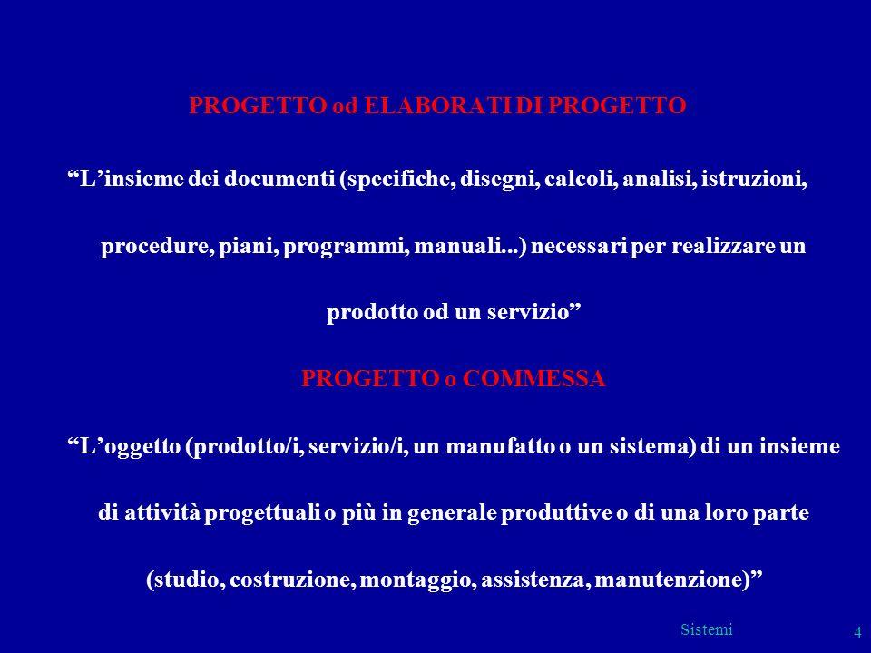 Sistemi 4 PROGETTO od ELABORATI DI PROGETTO Linsieme dei documenti (specifiche, disegni, calcoli, analisi, istruzioni, procedure, piani, programmi, ma