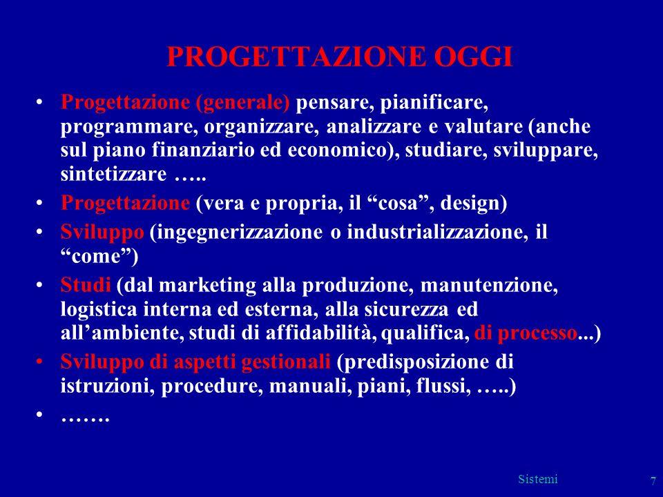 Sistemi 7 PROGETTAZIONE OGGI Progettazione (generale) pensare, pianificare, programmare, organizzare, analizzare e valutare (anche sul piano finanziar