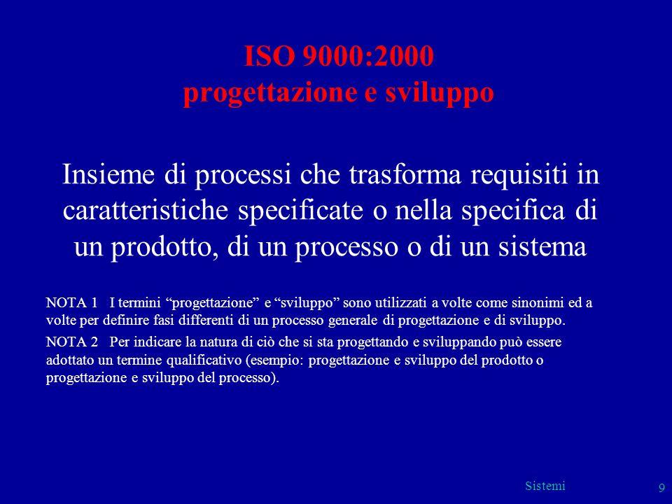 Sistemi 9 ISO 9000:2000 progettazione e sviluppo Insieme di processi che trasforma requisiti in caratteristiche specificate o nella specifica di un pr