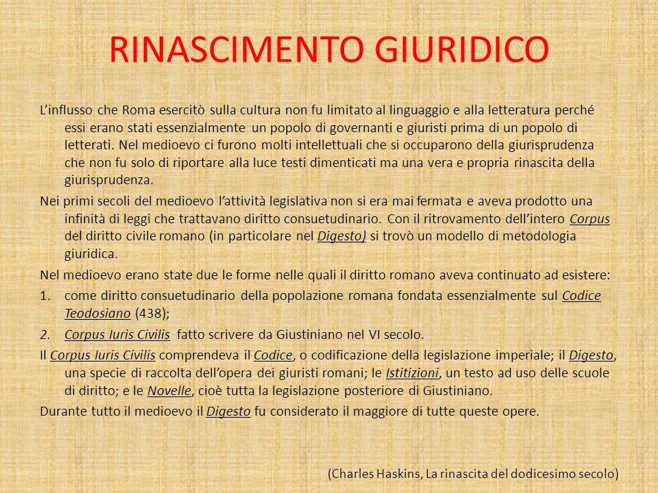 RINASCIMENTO GIURIDICO Linflusso che Roma esercitò sulla cultura non fu limitato al linguaggio e alla letteratura perché essi erano stati essenzialmen