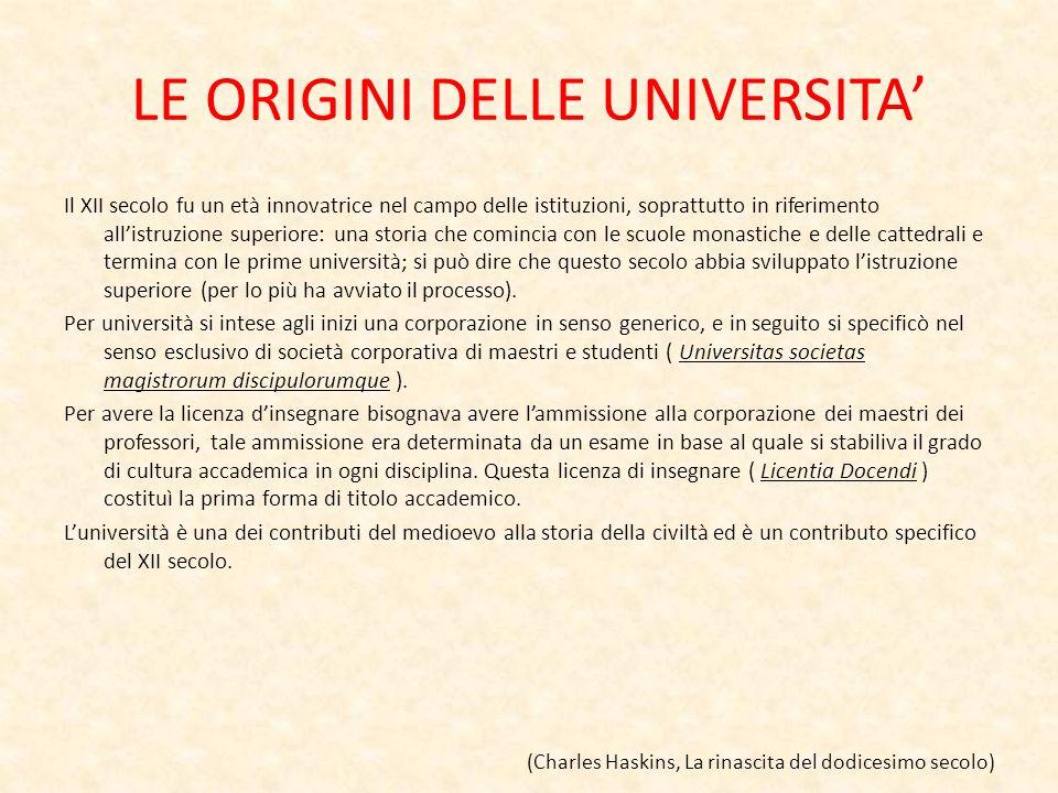 LE ORIGINI DELLE UNIVERSITA Il XII secolo fu un età innovatrice nel campo delle istituzioni, soprattutto in riferimento allistruzione superiore: una s