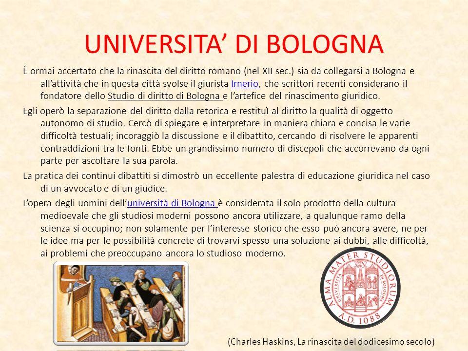 UNIVERSITA DI BOLOGNA È ormai accertato che la rinascita del diritto romano (nel XII sec.) sia da collegarsi a Bologna e allattività che in questa cit