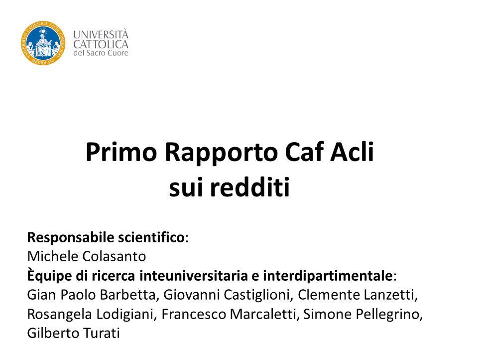 Primo Rapporto Caf Acli sui redditi Responsabile scientifico: Michele Colasanto Èquipe di ricerca inteuniversitaria e interdipartimentale: Gian Paolo