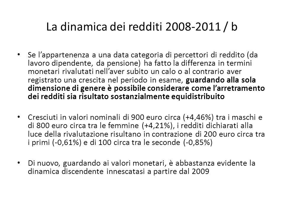 La dinamica dei redditi 2008-2011 / b Se lappartenenza a una data categoria di percettori di reddito (da lavoro dipendente, da pensione) ha fatto la d