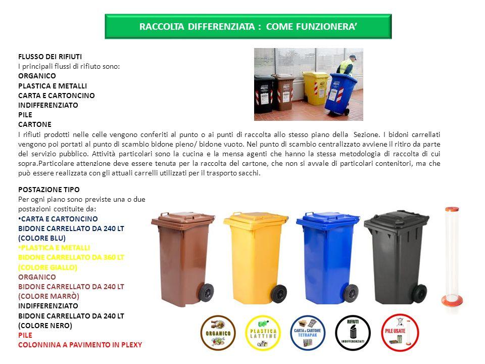 FLUSSO DEI RIFIUTI I principali flussi di rifiuto sono: ORGANICO PLASTICA E METALLI CARTA E CARTONCINO INDIFFERENZIATO PILE CARTONE I rifiuti prodotti