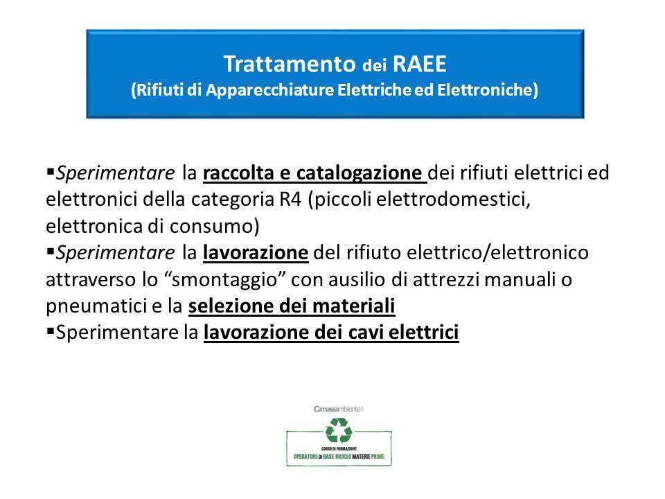 Trattamento dei RAEE (Rifiuti di Apparecchiature Elettriche ed Elettroniche) Sperimentare la raccolta e catalogazione dei rifiuti elettrici ed elettro