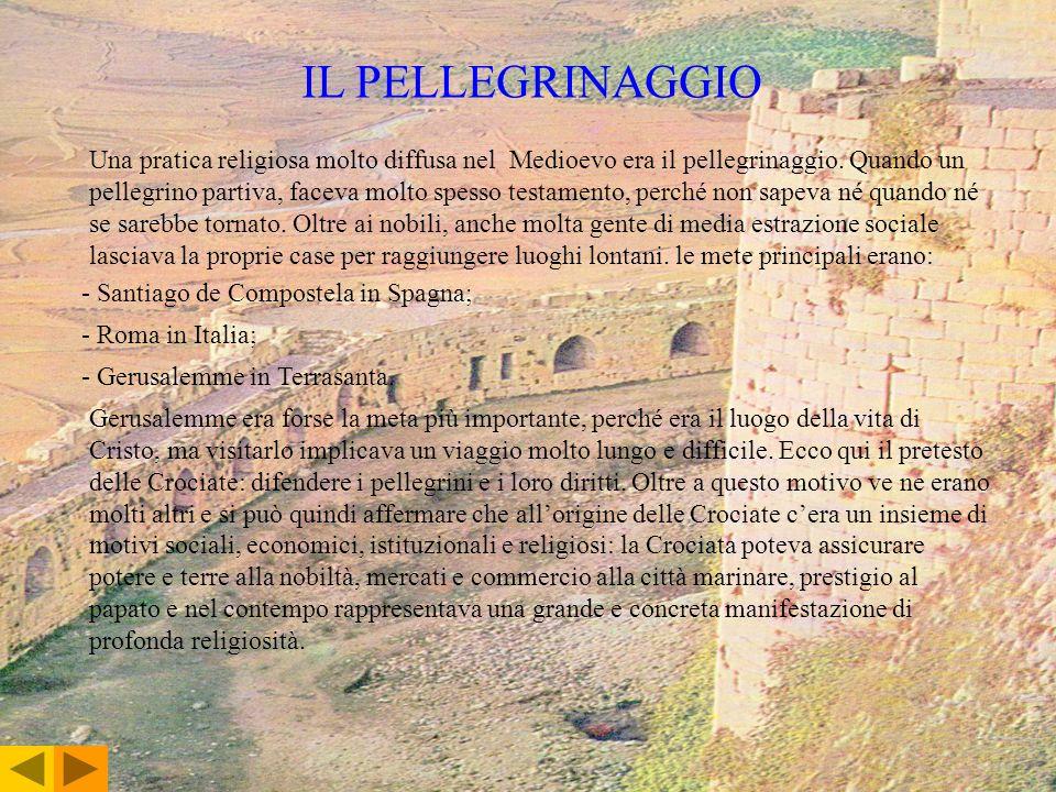 IL PELLEGRINAGGIO Una pratica religiosa molto diffusa nel Medioevo era il pellegrinaggio. Quando un pellegrino partiva, faceva molto spesso testamento