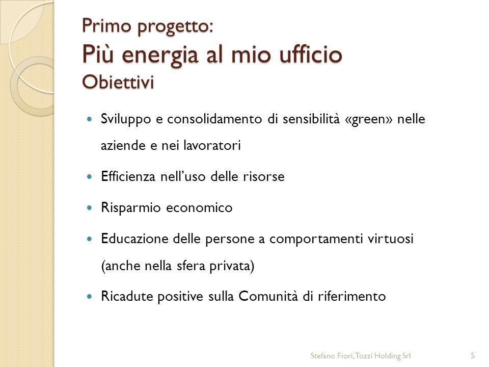 Primo progetto: Più energia al mio ufficio Obiettivi Sviluppo e consolidamento di sensibilità «green» nelle aziende e nei lavoratori Efficienza nelluso delle risorse Risparmio economico Educazione delle persone a comportamenti virtuosi (anche nella sfera privata) Ricadute positive sulla Comunità di riferimento Stefano Fiori, Tozzi Holding Srl5