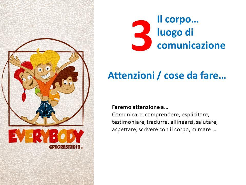 3 Il corpo… luogo di comunicazione Attenzioni / cose da fare… Faremo attenzione a… Comunicare, comprendere, esplicitare, testimoniare, tradurre, allinearsi, salutare, aspettare, scrivere con il corpo, mimare …