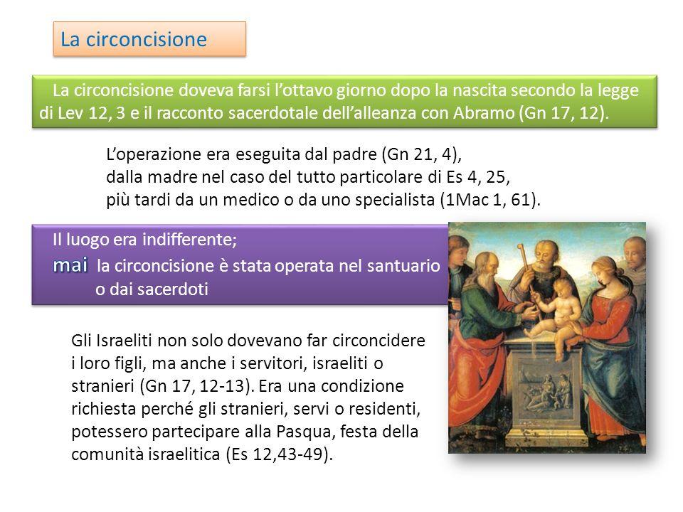 La circoncisione Loperazione era eseguita dal padre (Gn 21, 4), dalla madre nel caso del tutto particolare di Es 4, 25, più tardi da un medico o da uno specialista (1Mac 1, 61).