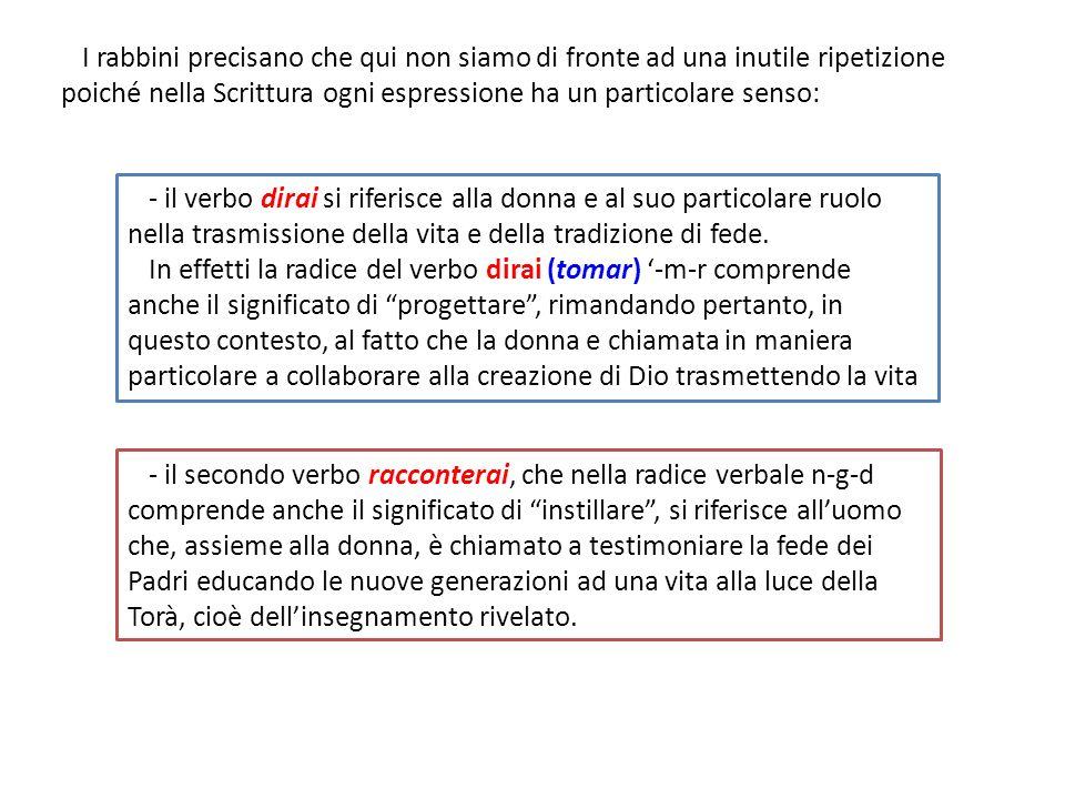 - il secondo verbo racconterai, che nella radice verbale n-g-d comprende anche il significato di instillare, si riferisce alluomo che, assieme alla do