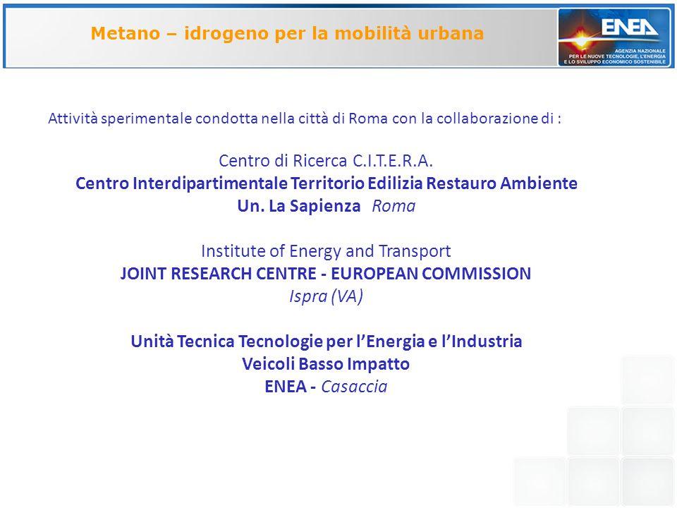 VEHICLE BRANDFIAT MODELPanda CONSTRUCTION YEAR2007 PISTON DISPLACEMENT1242 cm 3 FUEL Gasoline, Methane, Hydrogen-Methane blend MAX ENGINE POWER (gasoline/methane) 44/38 kW EMISSION TREATMENT3 way catalyst C.E.