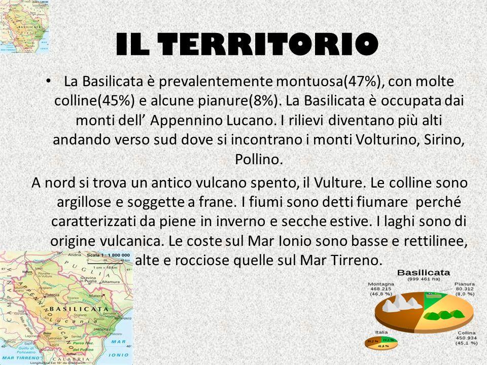 IL TERRITORIO La Basilicata è prevalentemente montuosa(47%), con molte colline(45%) e alcune pianure(8%). La Basilicata è occupata dai monti dell Appe