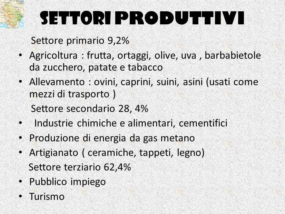 SETTORI PRODUTTIVI Settore primario 9,2% Agricoltura : frutta, ortaggi, olive, uva, barbabietole da zucchero, patate e tabacco Allevamento : ovini, ca