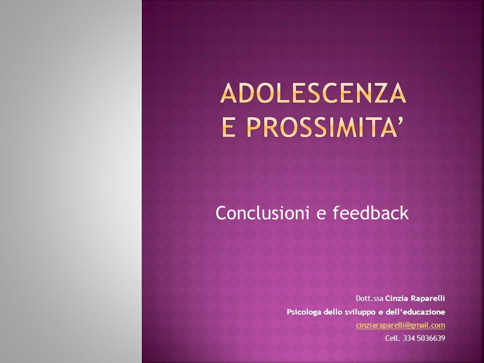 Conclusioni e feedback Dott.ssa Cinzia Raparelli Psicologa dello sviluppo e delleducazione cinziaraparelli@gmail.com Cell. 334 5036639