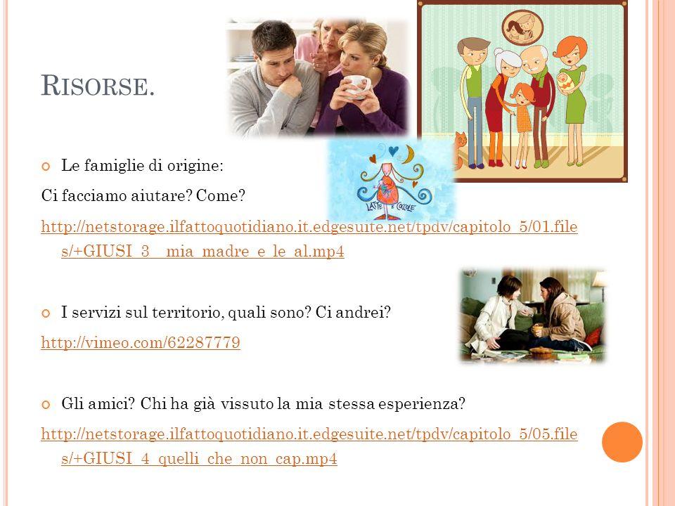 R ISORSE. Le famiglie di origine: Ci facciamo aiutare? Come? http://netstorage.ilfattoquotidiano.it.edgesuite.net/tpdv/capitolo_5/01.file s/+GIUSI_3__
