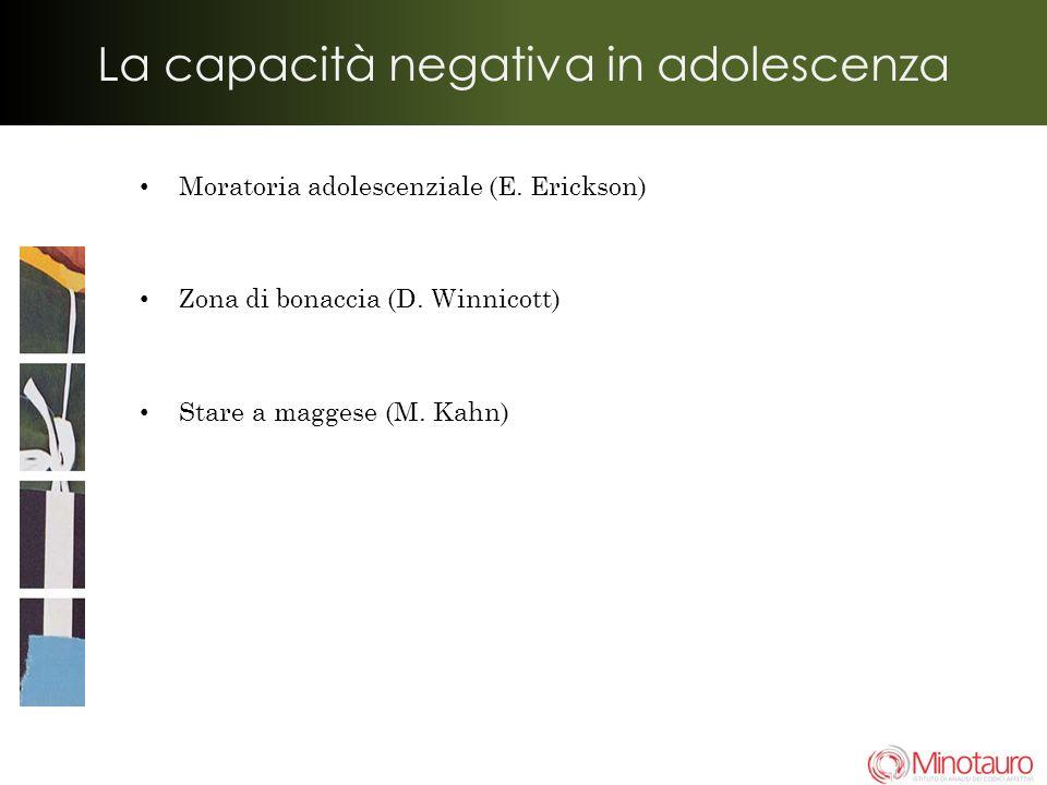 La capacità negativa in adolescenza Moratoria adolescenziale (E.