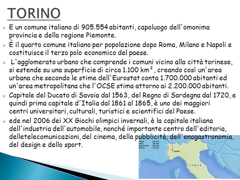 E un comune italiano di 905.554 abitanti, capoluogo dell'omonima provincia e della regione Piemonte. È il quarto comune italiano per popolazione dopo