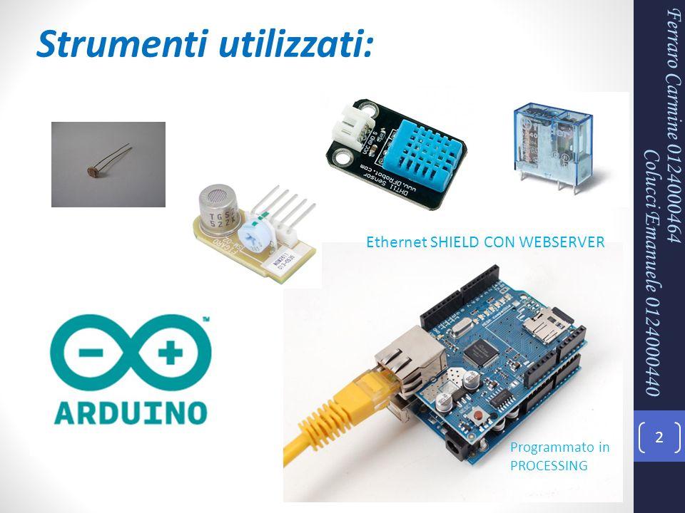Ferraro Carmine 0124000464 2 Strumenti utilizzati: Ethernet SHIELD CON WEBSERVER Programmato in PROCESSING Colucci Emanuele 0124000440