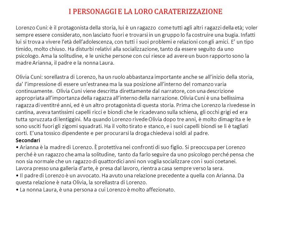 LAMBIENTAZIONE Il primo e lultimo capitolo del romanzo sono ambientati nella città friulana di Cividale del Friuli, mentre lintera parte del romanzo è ambientata a Roma, eccetto per un piccolo flashback in cui Lorenzo racconta di aver incontrato la sorellastra Olivia a Capri.