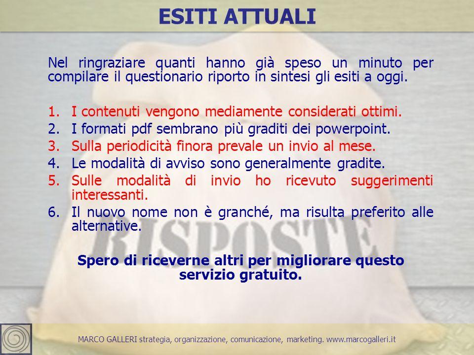 MARCO GALLERI strategia, organizzazione, comunicazione, marketing. www.marcogalleri.it ESITI ATTUALI Nel ringraziare quanti hanno già speso un minuto