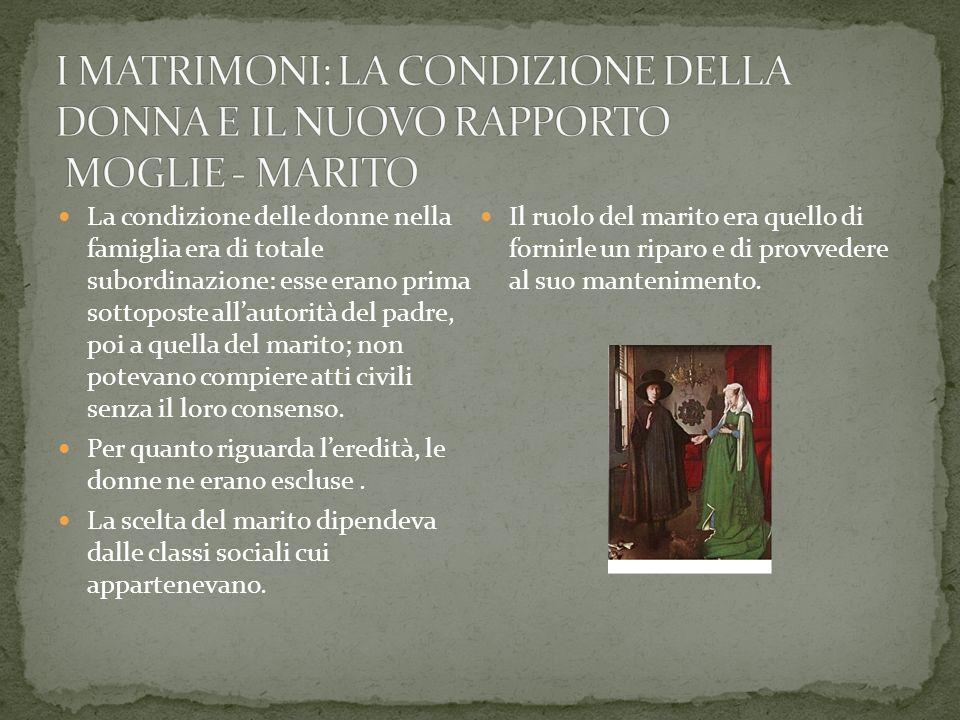 La condizione delle donne nella famiglia era di totale subordinazione: esse erano prima sottoposte allautorità del padre, poi a quella del marito; non