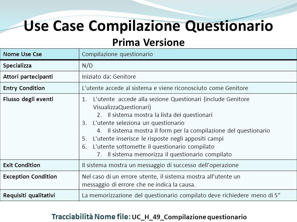 Use Case Compilazione Questionario Prima Versione Nome Use CseCompilazione questionario SpecializzaN/D Attori partecipantiIniziato da: Genitore Entry