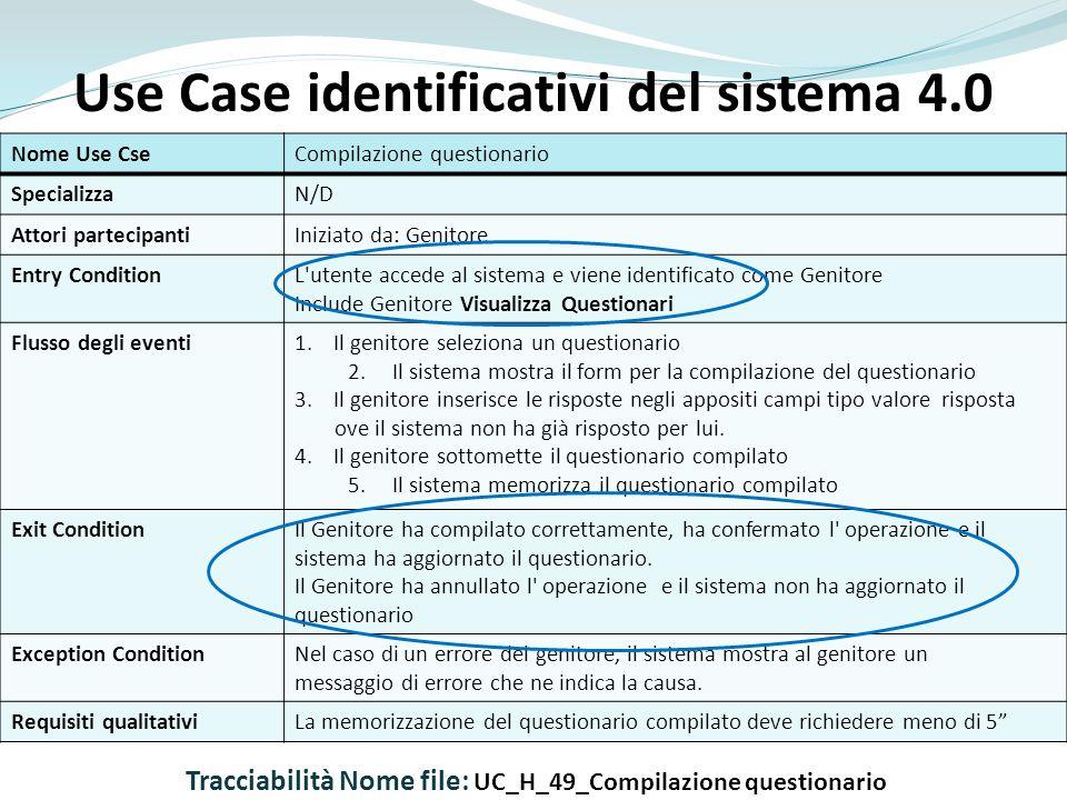 Use Case identificativi del sistema 4.0 Nome Use CseCompilazione questionario SpecializzaN/D Attori partecipantiIniziato da: Genitore Entry ConditionL utente accede al sistema e viene identificato come Genitore Include Genitore Visualizza Questionari Flusso degli eventi1.