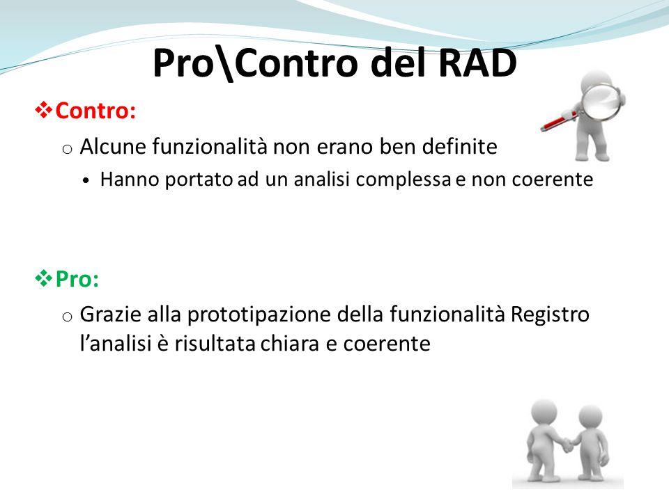 Pro\Contro del RAD Contro: o Alcune funzionalità non erano ben definite Hanno portato ad un analisi complessa e non coerente Pro: o Grazie alla protot