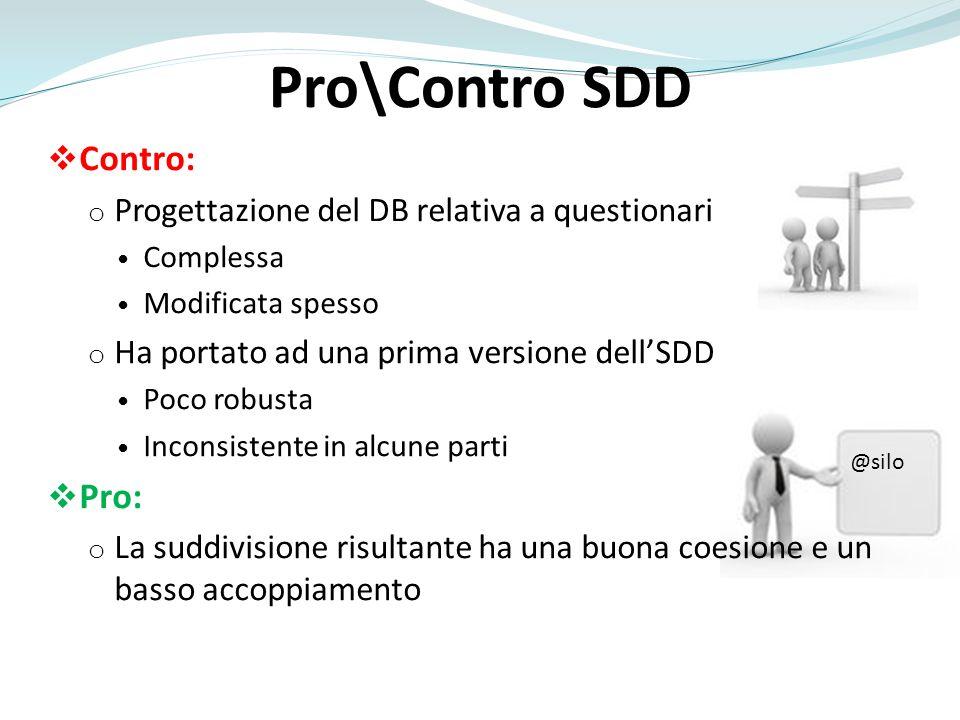 Pro\Contro SDD Contro: o Progettazione del DB relativa a questionari Complessa Modificata spesso o Ha portato ad una prima versione dellSDD Poco robus