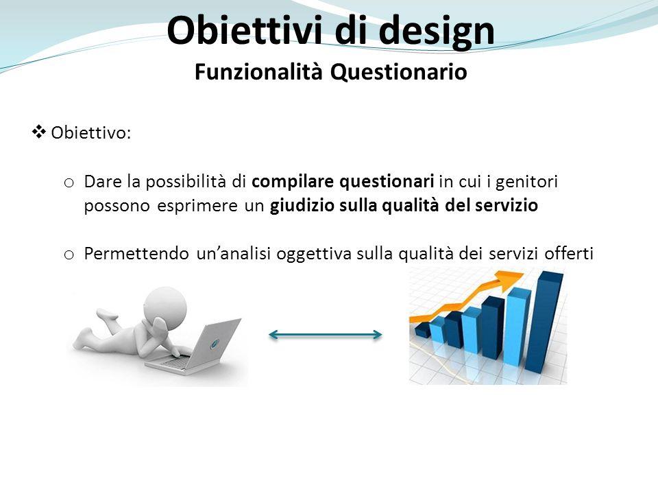 Obiettivi di design Funzionalità Questionario Obiettivo: o Dare la possibilità di compilare questionari in cui i genitori possono esprimere un giudizio sulla qualità del servizio o Permettendo unanalisi oggettiva sulla qualità dei servizi offerti