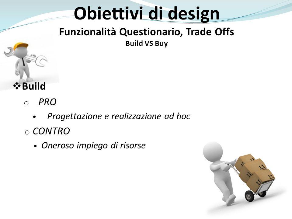 o PRO Progettazione e realizzazione ad hoc o CONTRO Oneroso impiego di risorse Obiettivi di design Funzionalità Questionario, Trade Offs Build VS Buy