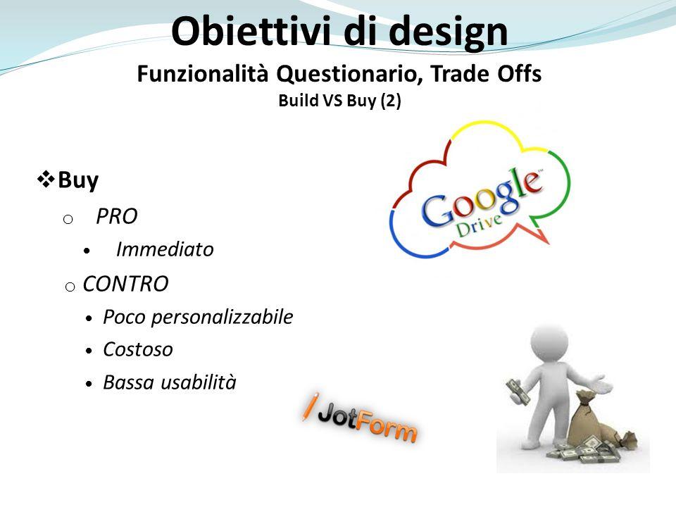 Buy o PRO Immediato o CONTRO Poco personalizzabile Costoso Bassa usabilità Obiettivi di design Funzionalità Questionario, Trade Offs Build VS Buy (2)