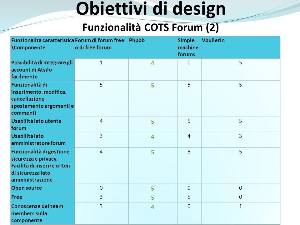 Obiettivi di design Funzionalità COTS Forum (2)