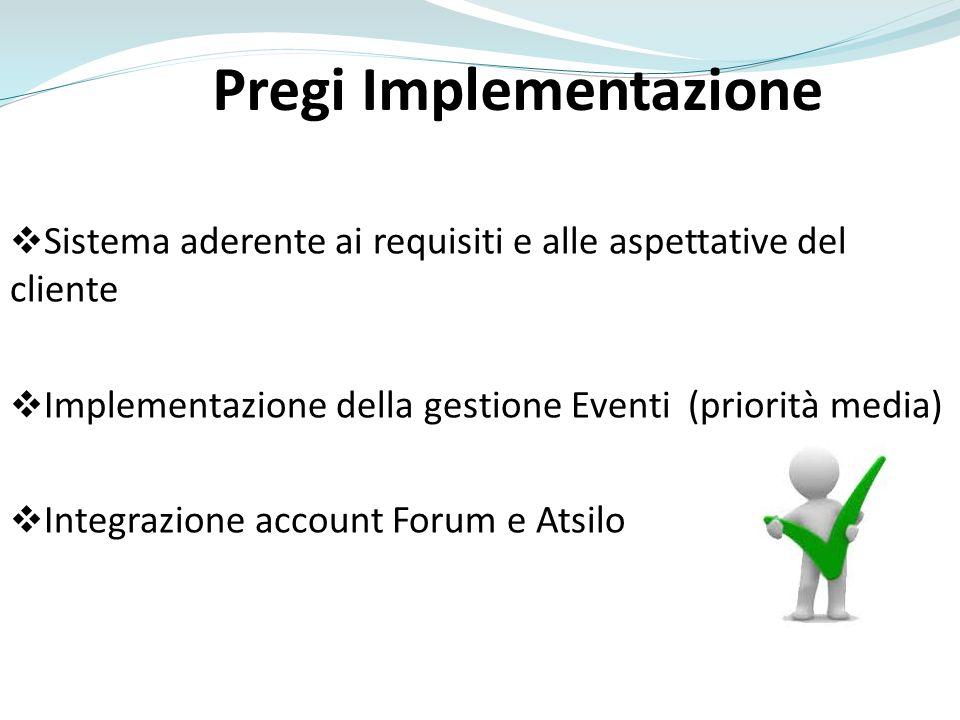 Pregi Implementazione Sistema aderente ai requisiti e alle aspettative del cliente Implementazione della gestione Eventi (priorità media) Integrazione account Forum e Atsilo