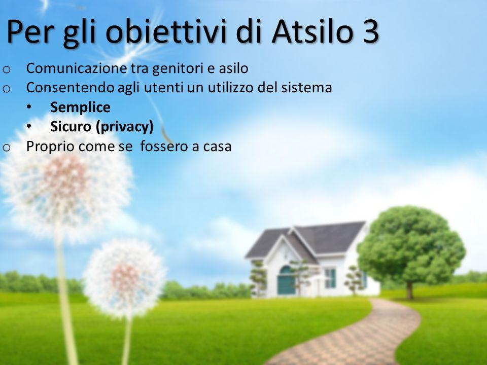 o Comunicazione tra genitori e asilo o Consentendo agli utenti un utilizzo del sistema Semplice Sicuro (privacy) o Proprio come se fossero a casa Per gli obiettivi di Atsilo 3