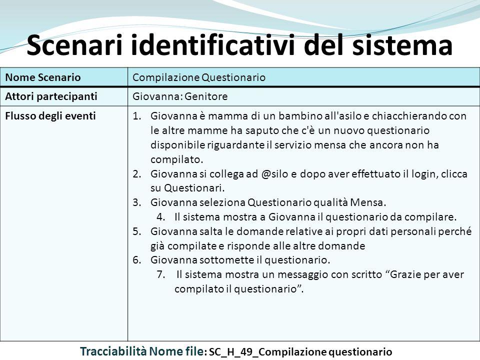 Scenari identificativi del sistema Nome ScenarioCompilazione Questionario Attori partecipantiGiovanna: Genitore Flusso degli eventi1.Giovanna è mamma