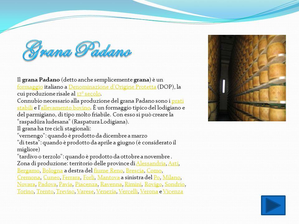 Il grana Padano (detto anche semplicemente grana) è un formaggio italiano a Denominazione d'Origine Protetta (DOP), la cui produzione risale al 12° se