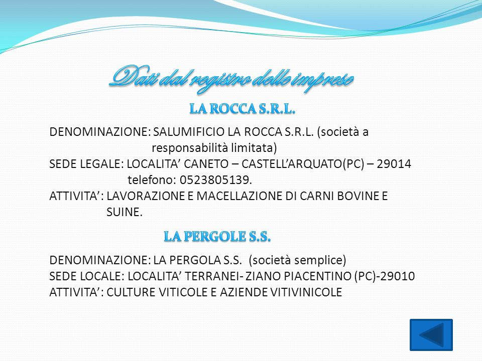 DENOMINAZIONE: SALUMIFICIO LA ROCCA S.R.L. (società a responsabilità limitata) SEDE LEGALE: LOCALITA CANETO – CASTELLARQUATO(PC) – 29014 telefono: 052