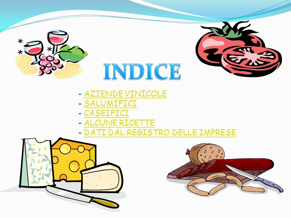 - AZIENDE VINICOLE - SALUMIFICI - CASEIFICI - ALCUNE RICETTE - DATI DAL REGISTRO DELLE IMPRESE AZIENDE VINICOLESALUMIFICICASEIFICIALCUNE RICETTEDATI D