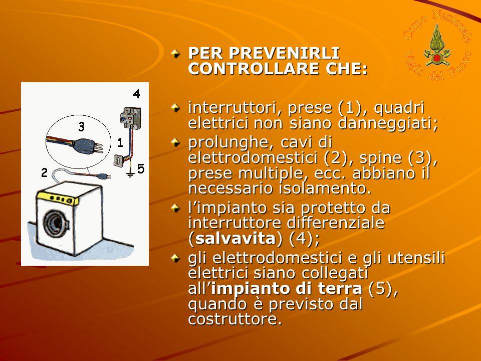 PER PREVENIRLI CONTROLLARE CHE: interruttori, prese (1), quadri elettrici non siano danneggiati; prolunghe, cavi di elettrodomestici (2), spine (3), p