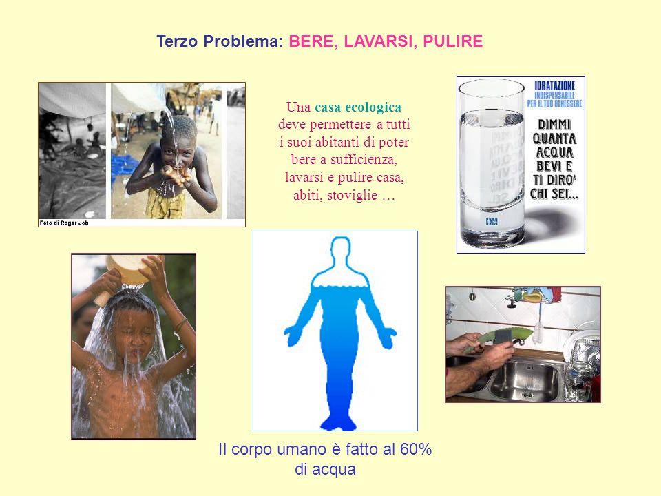 Terzo Problema: BERE, LAVARSI, PULIRE Il corpo umano è fatto al 60% di acqua Una casa ecologica deve permettere a tutti i suoi abitanti di poter bere a sufficienza, lavarsi e pulire casa, abiti, stoviglie …